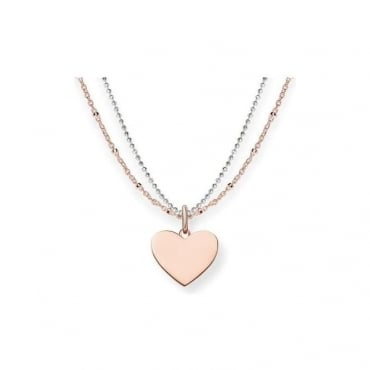 Thomas Sabo Jewellery Rose Gold Heart Necklace - LBKE0004-415-12