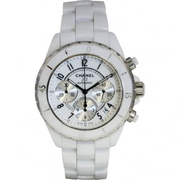 Pre-Owned Chanel Laides White Ceramic J12 Watch.