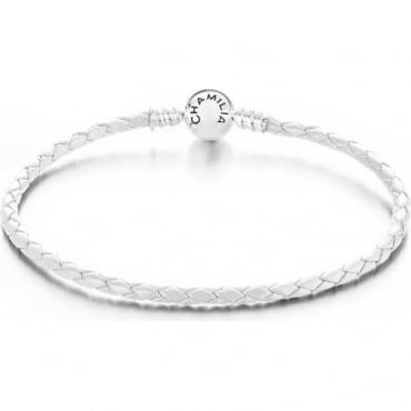 Chamilia Braided Snap Closure Leather Bracelet White