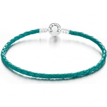 Chamilia Braided Snap Closure Leather Bracelet Teal