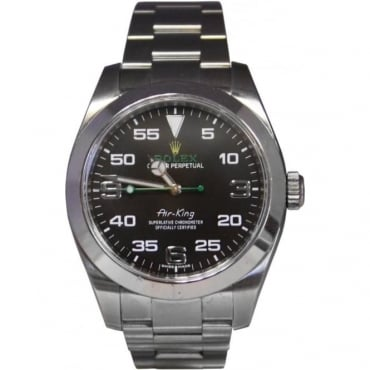 Pre-Owned Rolex Men's Stainless Steel Air-King With Green Second Hand. 116900