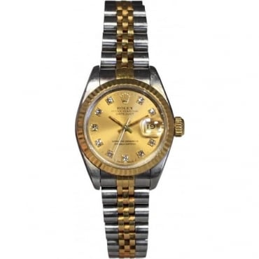 Ladies Bi-Metal DateJust Watch With Diamond Dot Dial