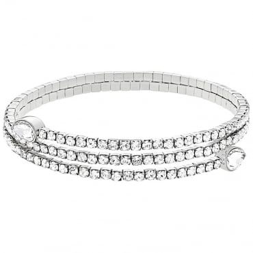 LADIES TWISTY DROP BANGLE, WHITE, RHODIUM PLATING. 5073592