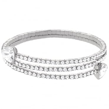 LADIES TWISTY TRIANGLE BANGLE, WHITE, RHODIUM PLATING 5086031