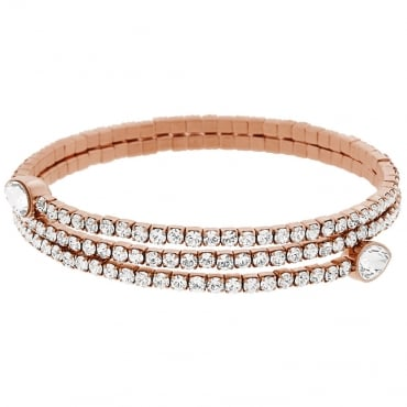 LADIES TWISTY DROP BANGLE, WHITE, ROSE GOLD PLATING. 5073594