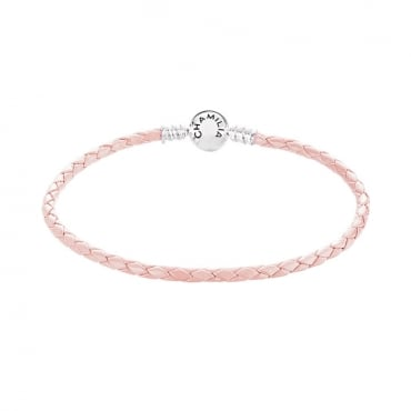 Braided Snap Closure Leather Bracelet Blush