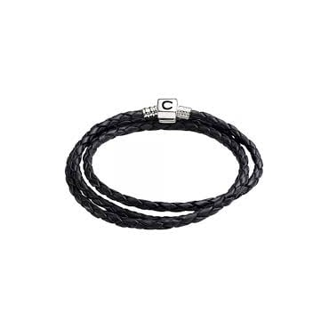 Braided Leather Wrap Bracelet - Ebony