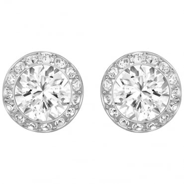 LADIES ANGELIC PIERCED EARRINGS, WHITE, RHODIUM PLATING 1081942