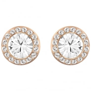 LADIES ANGELIC PIERCED EARRINGS, WHITE, ROSE GOLD PLATING 5112163