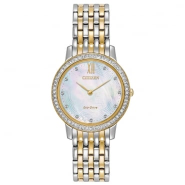 Ladies Silhouette Crystal Eco-Drive Watch - EX1484-57D