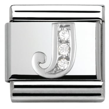 Classic Silver Letter J - Crystal