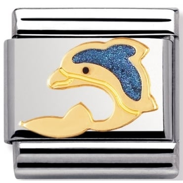 Classic Gold Blue Enamel Dolphin Charm - 03021301