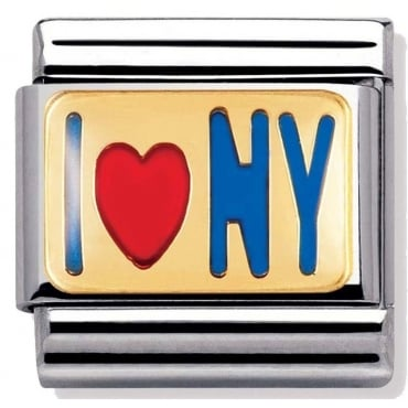 Classic Gold and Enamel I Love NY Charm