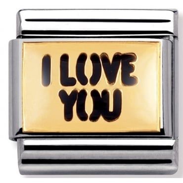 Classic Gold and Enamel I Love You Charm