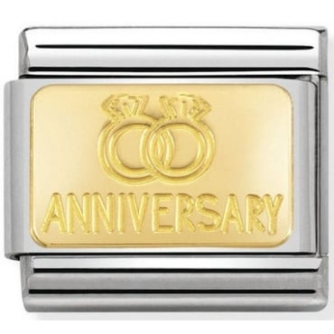 Classic Gold Anniversary with Rings Charm
