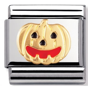 Classic Gold and Enamel Pumpkin Charm