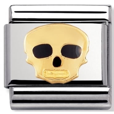 Classic Gold and Enamel Skull Charm