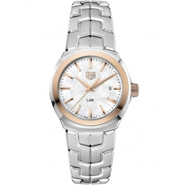 Ladies Stainless Steel With Rose Gold Bezel Link Watch. wbc1350.ba0600