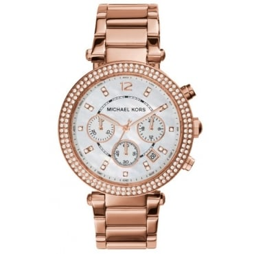 Ladies Rose Gold Parker Chronograph Watch MK5491