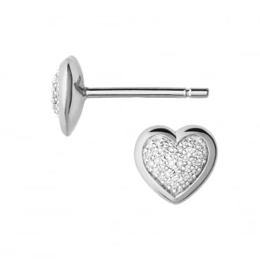 Diamond Essentials Sterling Silver & Pave Heart Stud Earrings. 5040.2410