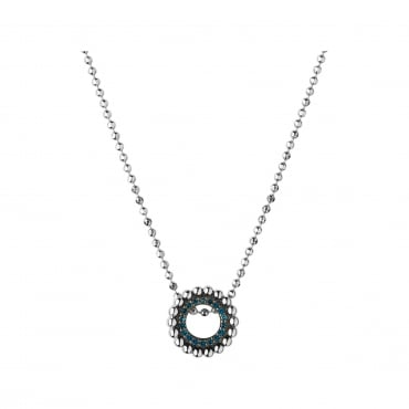 Effervescence Sterling Silver & Blue Diamond Mini Necklace. 5020-3544
