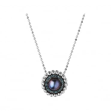Effervescence Sterling Silver, Blue Diamond & Pearl Necklace. 5020.3547