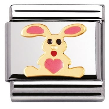 Classic Gold Enamel Pink Bunny Charm - 03021201