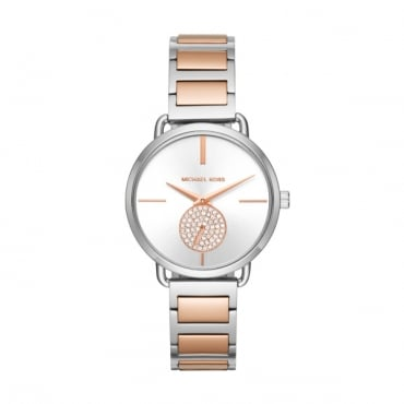 Ladies Rose Gold Two Tone Portia Watch MK3709