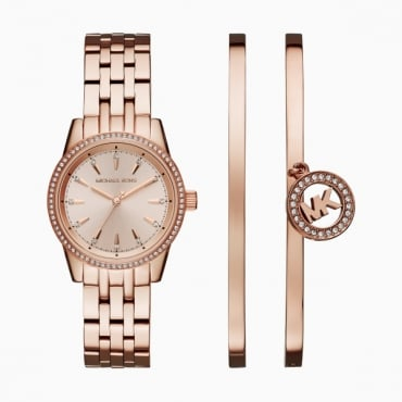 Ladies Rose Gold Watch and Bangle Set MK3744