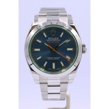Men's Stainless Steel Milgauss Watch. 116400GV