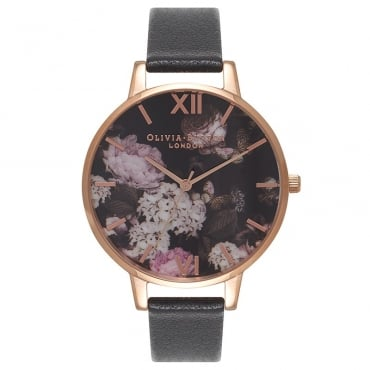 SIGNATURE FLORAL BLACK & ROSE GOLD WATCH - OB15WG12