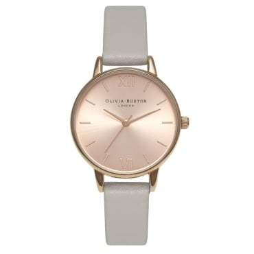 MIDI DIAL GREY AND ROSE GOLD WATCH - OB15MD46