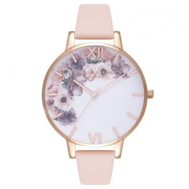 WATERCOLOUR FLORALS NUDE PEACH & ROSE GOLD - OB16PP30