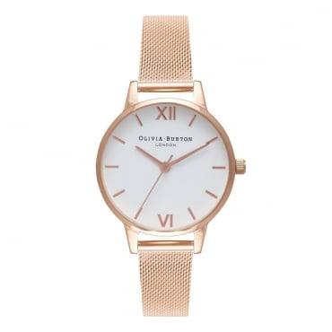 WHITE DIAL ROSE GOLD MESH WATCH - OB16MDW01