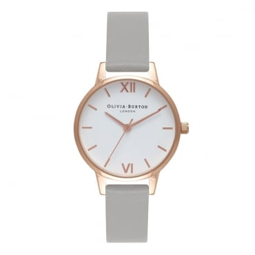 WHITE DIAL GREY & ROSE GOLD WATCH - OB16MDW05