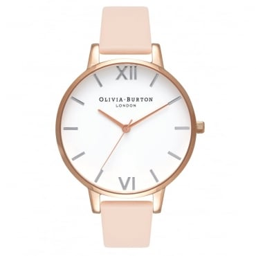 BIG DIAL NUDE PEACH, ROSE GOLD & SILVER WATCH - OB16BDW21