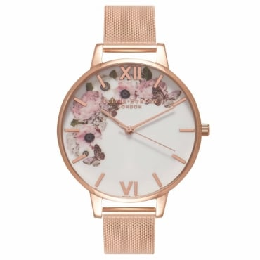 SIGNATURE FLORAL ROSE GOLD MESH WATCH - OB16WG18
