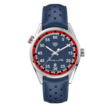 Men's Carrera 43mm Blue Dial & Leather Strap Muhammad Ali Limited Edition Watch. WAR2A13.FC6421