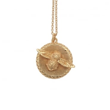 3D Bee Disc Necklace Gold - OBJ16AMN08