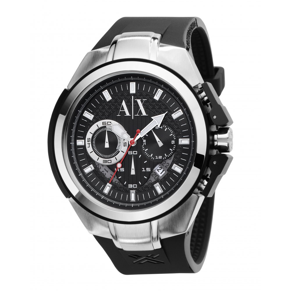 Armani exchange ax1042 chronograph watch with rubber strap ax1042 market cross jewellers for Armani exchange watches
