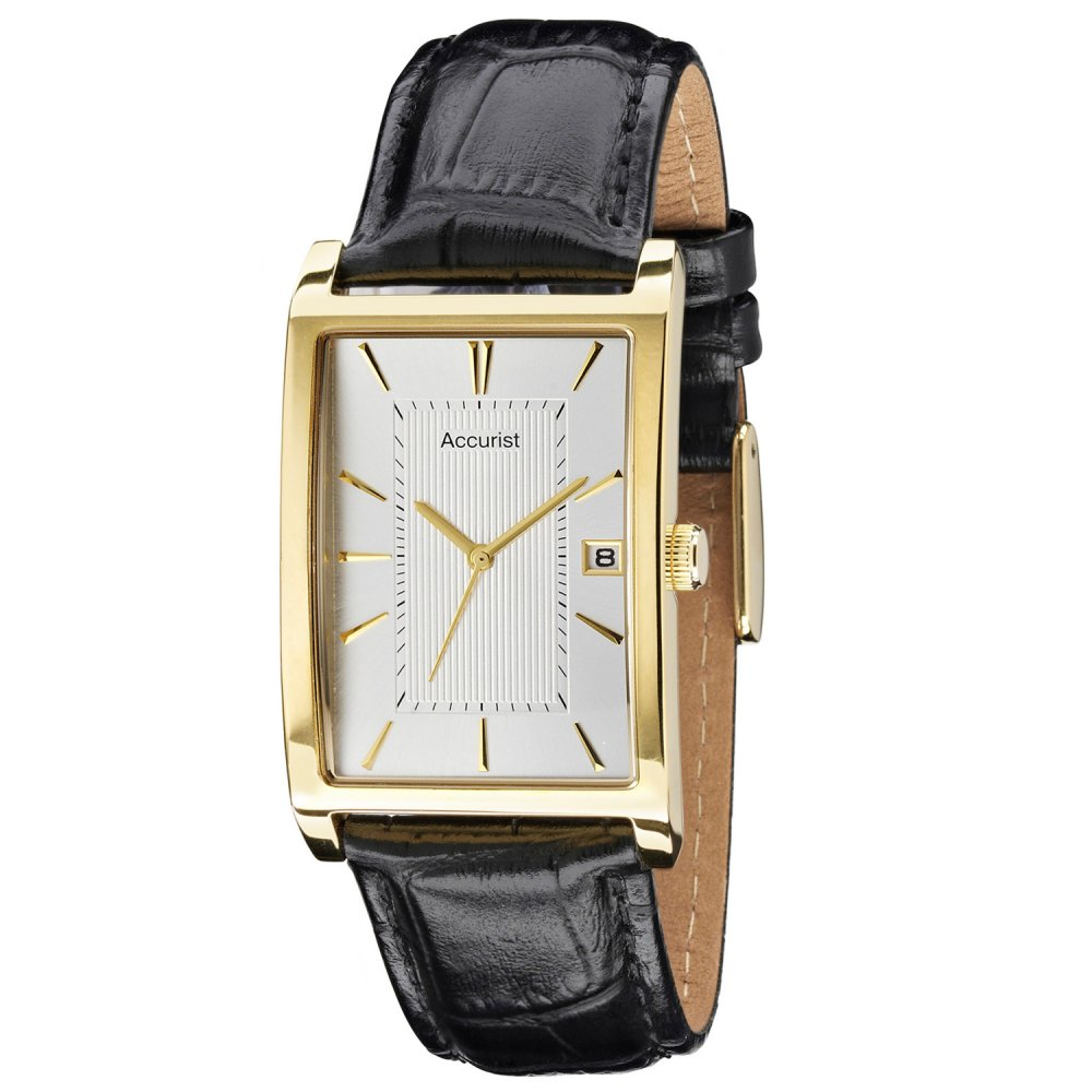 Mens accurist black leather strap watch ms892s accurist watches market cross jewellers for Black leather strap men