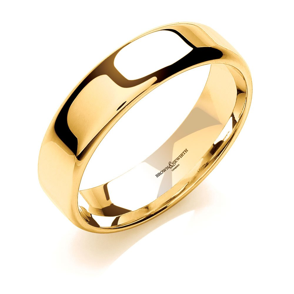 brown and newirth 9ct yellow gold 6mm wedding ring lccn