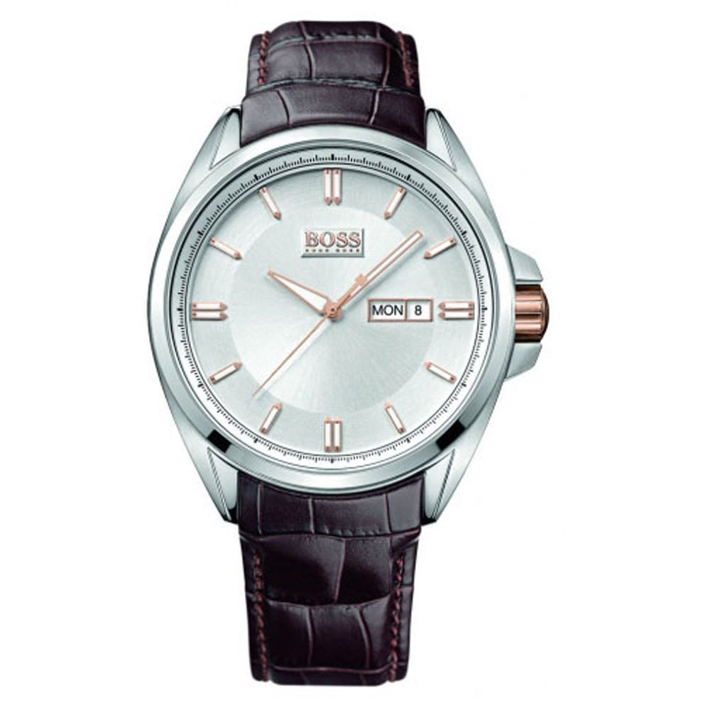 hugo boss mens driver leather strapped watch 1512876 hugo boss mens driver day date watch 1512876