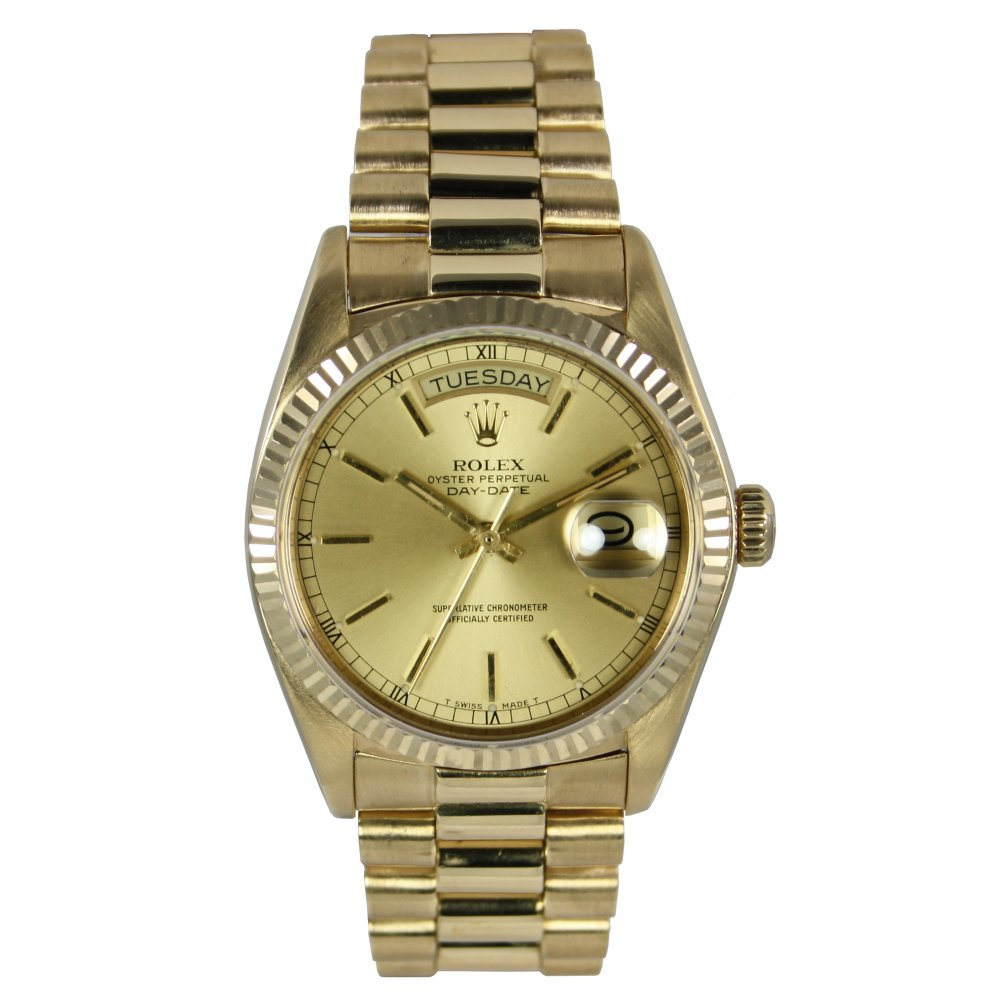 mens pre owned rolex oyster perpetual day date 18038. Black Bedroom Furniture Sets. Home Design Ideas