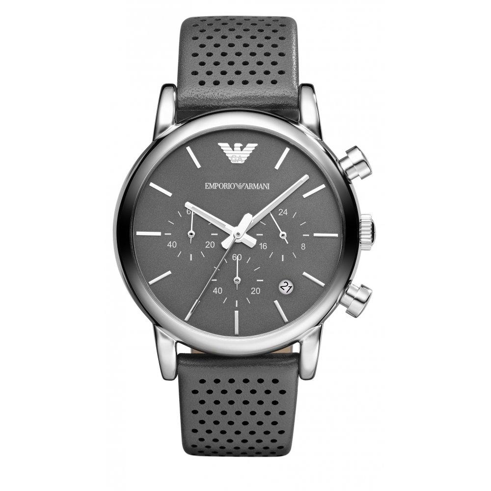 emporio armani mens grey luigi chronograph ar1735