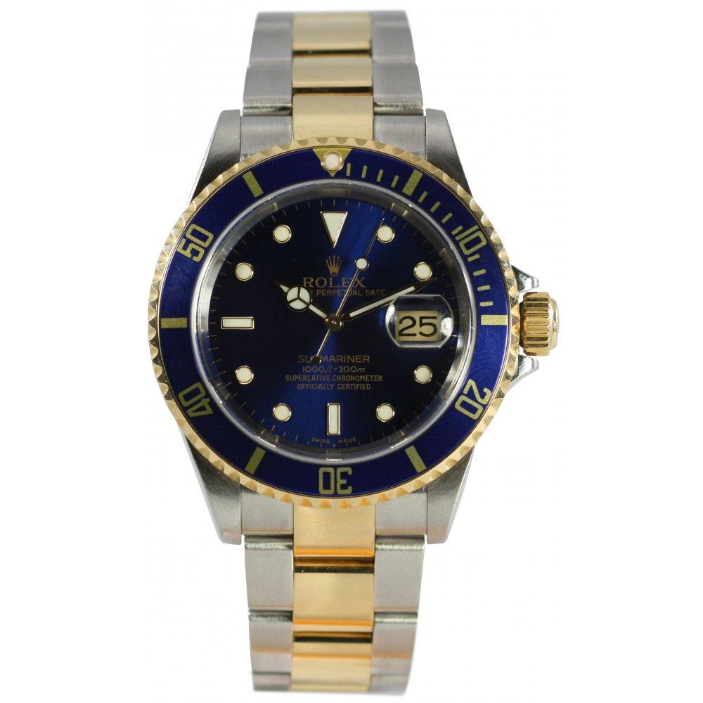 Pre-Owned Rolex Mens Bi-Metal Submariner Blue Dial Watch