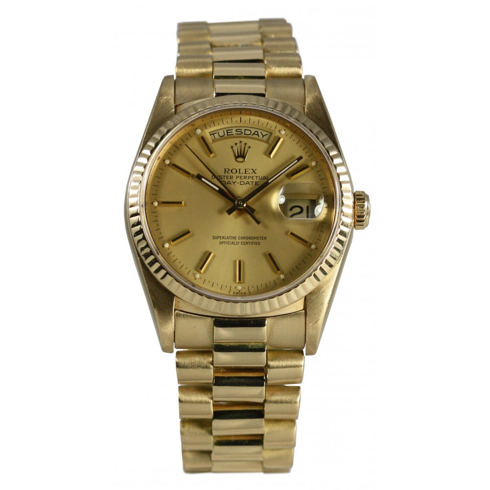 Pre owned rolex men 39 s oyster perpetual day date watch pre owned rolex from market cross for Oyster watches