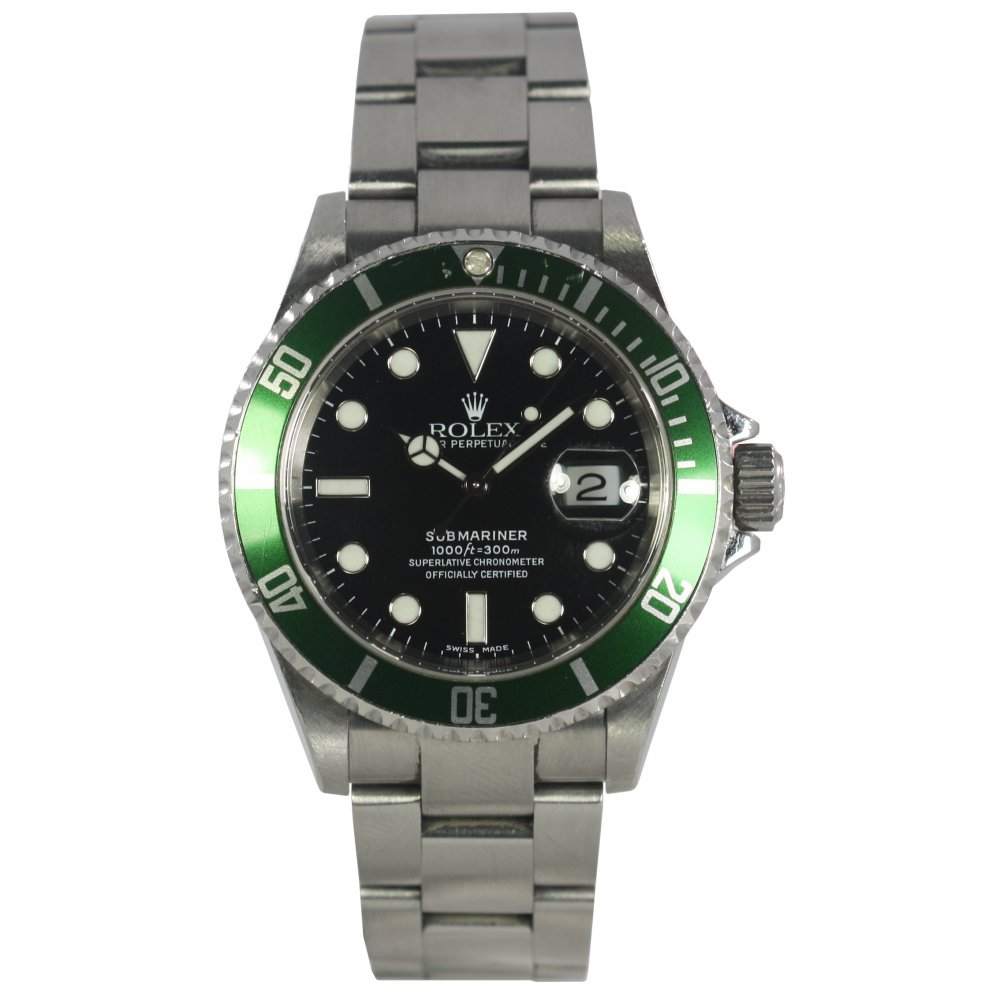 rolex pre owned mens 50th anniversary submariner 16610t. Black Bedroom Furniture Sets. Home Design Ideas