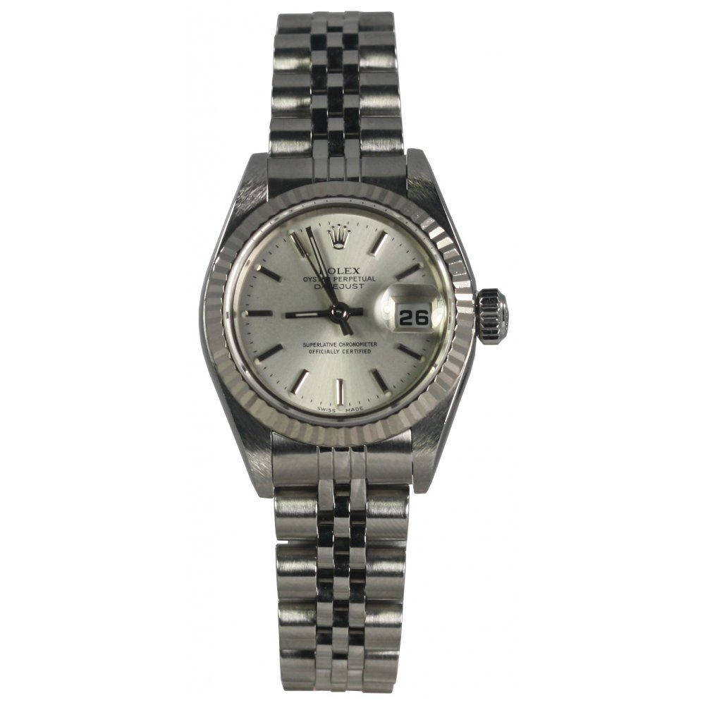 rolex pre owned ladies steel oyster perpetual datejust 79174. Black Bedroom Furniture Sets. Home Design Ideas