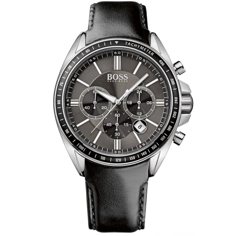 hugo boss mens leather strapped chronograph watch 1513085. Black Bedroom Furniture Sets. Home Design Ideas